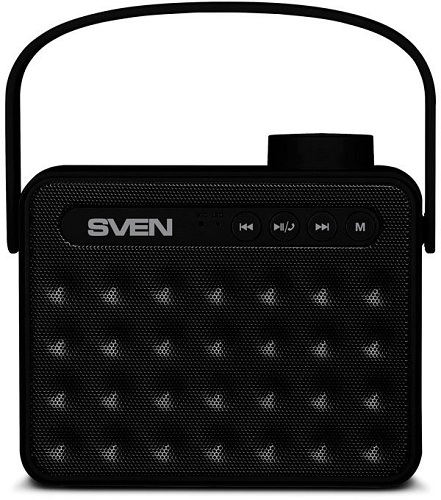 картинка Колонки SVEN PS-72, black (6W, Bluetooth, FM, USB, microSD, handle, 1200mA*h) от магазина itmag.kz