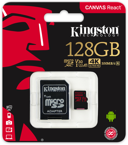 картинка Карта памяти Kingston 128GB microSDXC Canvas React 100R/80W U3 UHS-I V30 A1 Card + SD Adapter от магазина itmag.kz