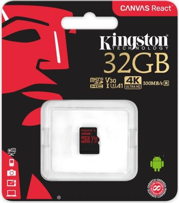 картинка Карта памяти Kingston 32GB microSDHC Canvas React 100R/70W U3 UHS-I V30 A1 No Adapter от магазина itmag.kz