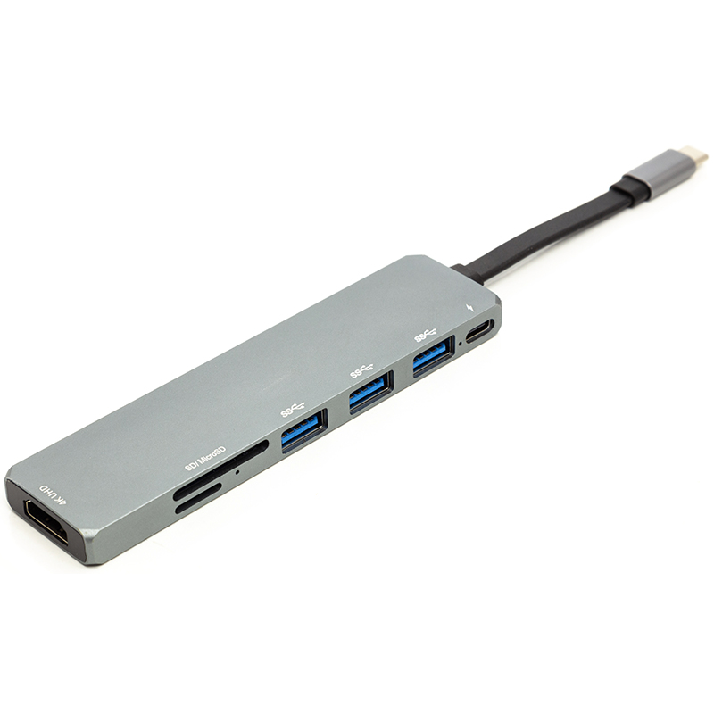 картинка Переходник PowerPlant USB 3.1 Type-C - USB Hub, HDMI, Card Reader (SD, micro SD) от магазина itmag.kz